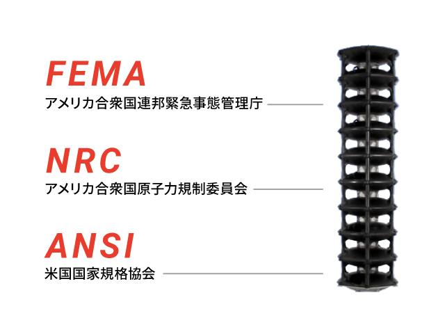 FEMA/アメリカ合衆国連邦緊急事態管理庁 NRC/アメリカ合衆国原子力規制委員会 ANSI/米国国家規格協会